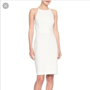 White Sleeveless Sheath Dress Banana Republic Sz0